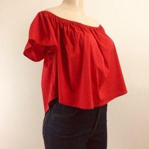 Forever 21 Top L Red Short Sleeve Off Shoulder